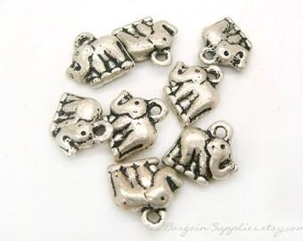 elephant pendant, antique silver pendants with top loop, supplies sale, jewelrsy supplies, destash sale, animal pendant, mini elephant