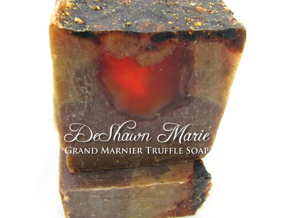 SALE SOAP- Grand Marnier Truffle Soap - Chocolate Soap - Vegan Soap - Cold Process Soap - Orange Soap, Christmas Gift, Mother's Day Gift
