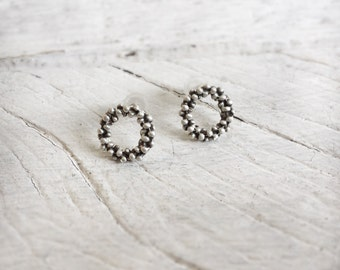 Minimal circle earrings-Sterling silver stud earrings-Silver dot earrings-Everyday jewelry-Tiny stud earrings-Geometric jewelry-