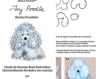 PDF en español: TOY POODLE Tutorial de bordado con cuentas del prendedor o pendiente de perro - Caniche (Exclusivo para uso personal)