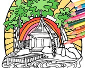 Tiki Surf Hut Coloring Page - Digital Download Surf Art - A Colorful World Suf & Sun by Alexine and Lori Goldwag - Adult Coloring Book