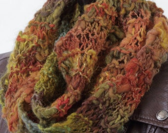 Unique one of a kind hand knit handspun warm soft unisex scarf autumn colors earth tones - wool bamboo metallic thread
