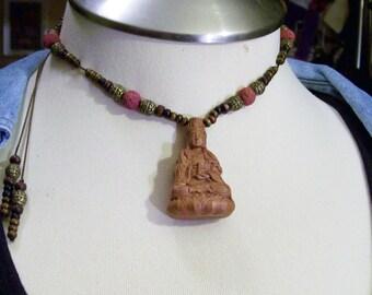Spiritual Fashion Statement Kwan-Yin Buddha Natural Carved Wood Amulet Pendant Focal Lava StonesGoddess of Compassion