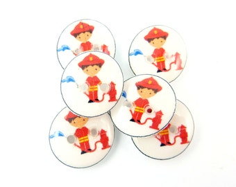 """6 SMALL Fireman or Fire Fighter Buttons. 1/2"""" or 13 mm Sewing Buttons."""
