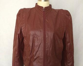 Vintage Burgundy Leather Jacket Short size S XS