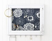Jewelry Organizer/ Jewelry Holder/ White Frame- Upcycled 8x10 Picture Frame