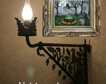 Fall Halloween Wall Art Print Black Cat Witch Mouse Print of Painting Creationarts