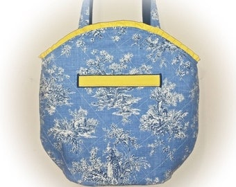 FREE Shipping USA Canada - J Castle Designs StayOver Bag - Blue White Yellow French Toile Waverly Designer Fabric - - (Ready to Ship)