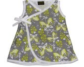 Butterfly Dress - Gray And White -  Baby Dress - Girls Dress - Dress - Conscious Children's Clothes - 12m On SALE Ready to SHIP