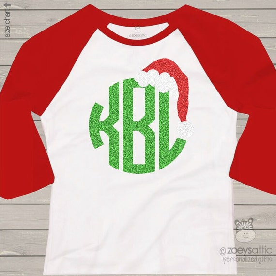 items similar to holiday shirt monogram glitter santa hat personalized adult raglan tshirt