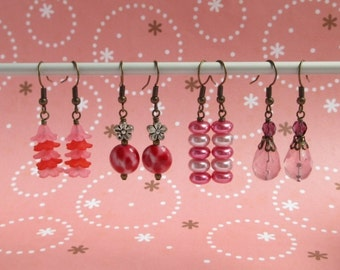 Clearance Sale - Red Earrings - Bell Flower, Painted Coin, Fuchsia Pink Pearl, Dangle Drops
