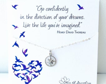 Graduation Gift, Go confidently in the Direction Of Your Dreams, College grad, High school graduation gift for her, compass necklace, otis b