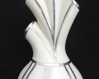 Rare Lenox China 1930s Art Deco Sterling Silver Over Porcelain Aorta Vase Heart