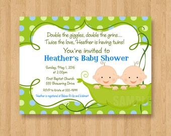 Two Peas in a Pod Baby Shower Invitations JPEG Cute Simply Adorable TWINS Boys