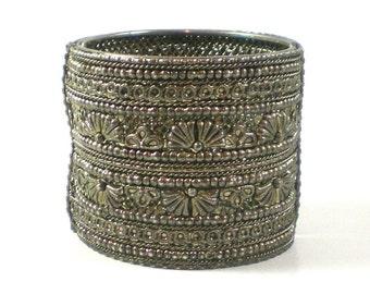 Tribal Bracelet - Silver Filigree Hinged Bracelet Bangle - Boho Hippie Bracelet - Vintage jewelry