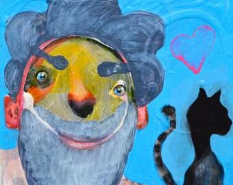 OOAK Original Unrequited Love Painting on Aquabord