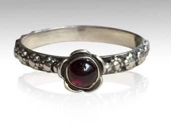 Thin Ring, floral ring, sterling silver ring, floral band, red stone ring,  Garnet ring, engagement ring - Signs of time R1694-1