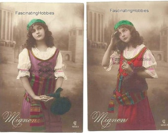 1914 - MIGNON's Musical OPERA -  set of 6 PHOTOS Postcards, complete - French written from his Fiancee june to september, Helvetia stamps -