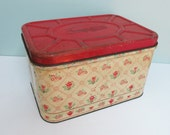 On Reserve! Vintage Empeco Metal Breadbox, Yellow with Red Hinged Lid, Teapots, Teacups and Flowers... Charming!