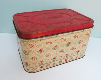 Vintage Empeco Metal Breadbox, Yellow with Red Hinged Lid, Teapots, Teacups and Flowers... Charming!