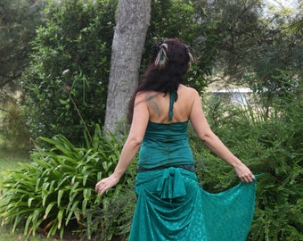 RESERVED OOAK Hand dyed Emerald Lace Iris Skirt sml