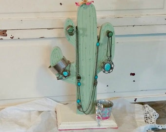 Wooden Cactus Jewelry Holder