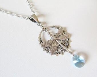dragonfly moon necklace pendant Swarovski crystal women's jewelry charm necklace aqua