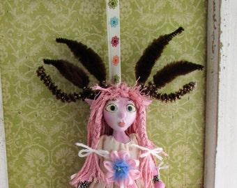 Little Dear Girl, handmade puppet art doll, doll ornament made in the USA