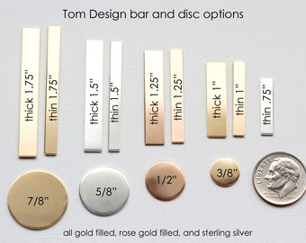 Add Engraved Charms - Sterling Silver, Gold Filled, or Rose Gold Filled, Bars and Discs