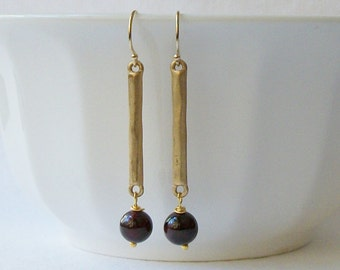 Garnet Dangle Earrings, Vintage Garnet Upcycled Dangle Earrings