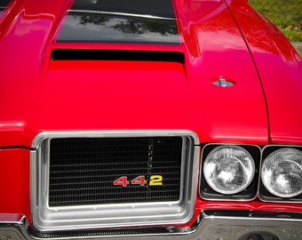 Oldsmobile 442 Red Front End Car Photography, Automotive, Auto Dealer, Muscle, Sports Car, Mechanic, Boys Room, Garage, Dealership Art