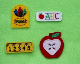 Back to School Felt Applique - Set of 4 (Box of Crayons, Ruler, Apple, and ABC Felt)