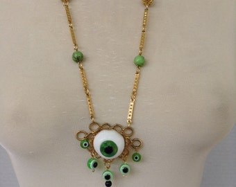 Green Eyeball Necklace