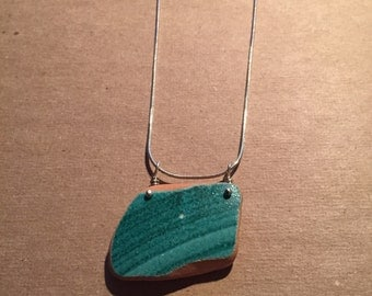 Turquoise Sea Pottery and Sterling Silver Necklace - Natural Teal Blue Brick/Pottery from Italy's Amalfi Coast - OOAK