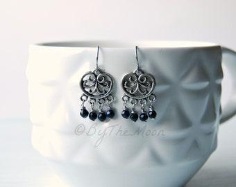 Blue Goldstone Earrings - Chandelier Earrings - Stainless Steel