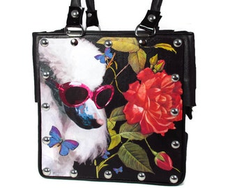 Poodle Custom Collage Leather Handbag