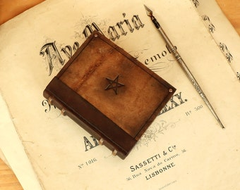 Little Magic Journal, Vintage leather notebook with parchment like pages