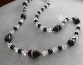 Fantastic Vintage Art Glass / Crystal Necklace, Black and Clear