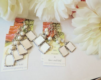 Wedding bouquet photo charms. 10x bridal bouquet charms.Memorial photo charms, set of 10. Gift for the bride. Pearl wedding photo charms.