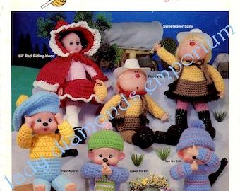 Adventures in Crochet Vintage 80's Doll Pattern Book 16 Designs Monkeys Red Riding Hood Cupie Do's Rabbit Easter Basket