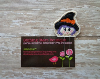 Planner Supplies - Black, Orange, And Purple Halloween Witch Felt Paper Clip Or Bookmark - Holiday Accessories For Books