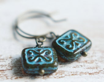 Beaded Earrings - Teal Drops