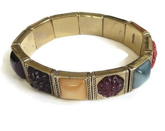 Vintage Monet Molded Glass & Cabochons Stretch Bracelet