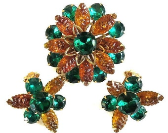Vintage Amber Lava Rock and Emerald Green Rhinestones Layered Flower Brooch or Pin and Earrings Demi Parure Set