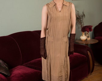 Vintage 1920s Dress - Ultra Soft Tan Silk 20s Day Dress from Pleating, Front Pockets and Button Accents