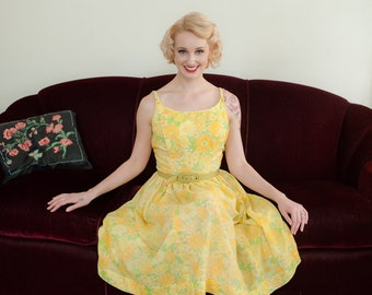 Vintage 1950s Dress - Cheerful Brighter Yellow Floral Print Early 60s Sundress in Orange, Yellow and Green by Jonathan Logan