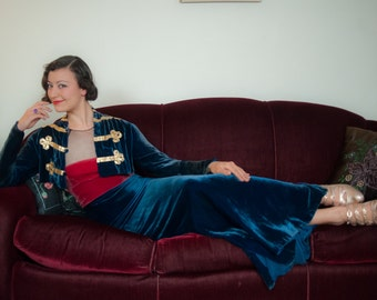 Vintage 1930s Dress - Deep Sapphire Blue Silk Velvet Bias Cut 30s Evening Gown with Raspberry Accents and Military Inspired Trim