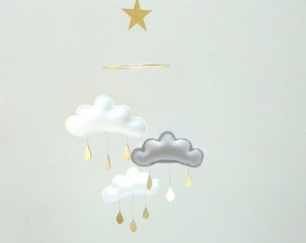 "Bestseller :Mobile ""MILAN"" White,Grey,White cloud mobile for nursery with gold star by The Butter Flying-Rain Cloud Mobile Nursery Decor"