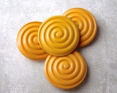 Autumn Yellow Buttons 31mm - 1 1/8 inch Carved Yellow Vintage Spiral Buttons - 4 NOS Grooved Glossy Yellow Swirl Plastic Buttons PL453 2LS