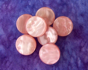 Pink Vintage Buttons 18mm - 5/8 inch Rose Quartz MoonGlow Pink Plastic Buttons - 7 VTG Marbled Ripple Luminescent Pink Shank Buttons PL024